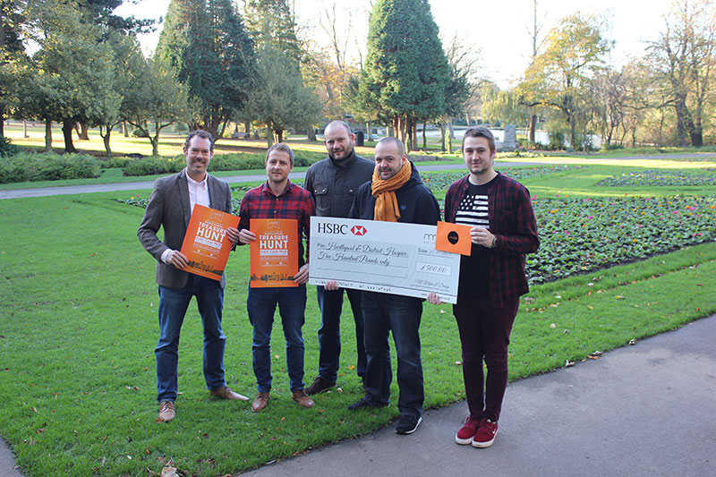 Pictured from L to R, Gavin Hatton, Jamie Arthur, Mark Skirving (mm&d Directors). Greg Hildreth (Hartlepool & District Hospice) and Jordan Thornhill.